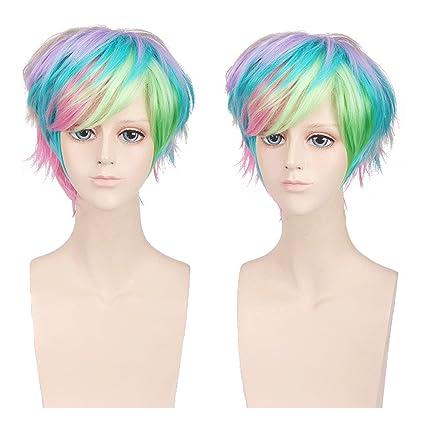 Beron de la mujer multicolor corto bobo peluca rosa Neto con peluca
