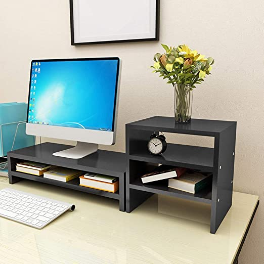 Multifunction Computer Monitor Flat Screen Holder Top Shelf Storage Rack