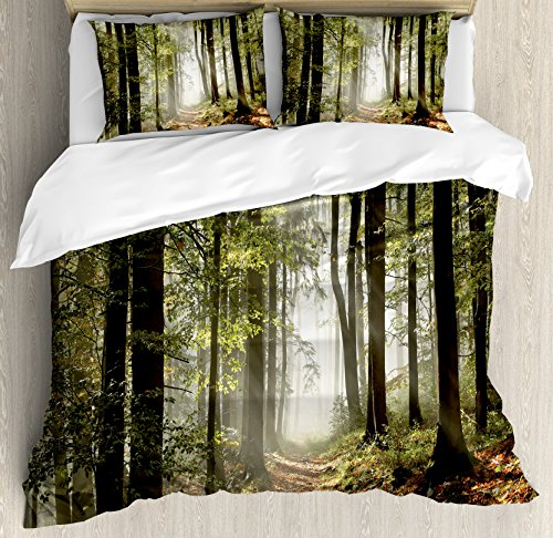 Sham Pillow Mist (Ambesonne Forest Duvet Cover Set King Size, Autumnal Forest Pathway in the Mountains With Mist in the Distance Wilderness Scene, Decorative 3 Piece Bedding Set with 2 Pillow Shams, Green Brown)