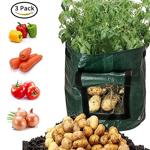 Potato Tubs - 7 Gallon 3-Pack Green Garden Potato Grow Bags Portable Durable Big Home Farm Planter Planting Bag PE Tub Pouch Handles Access Flap Soil Container for Potato, Carrot, Onion & Vegetables Flower Plant