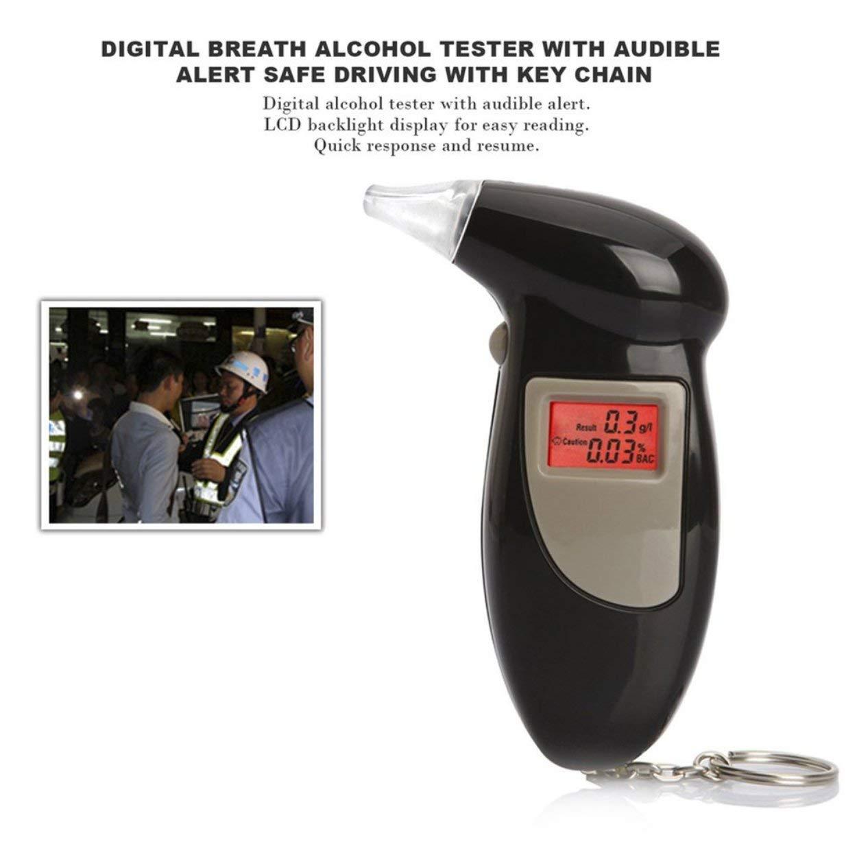Losenlli Probador Digital de Alcohol en Aliento con Alerta Audible Conducci/ón Segura con Llavero Detector de Alcohol de Respuesta r/ápida Alcohol/ímetro