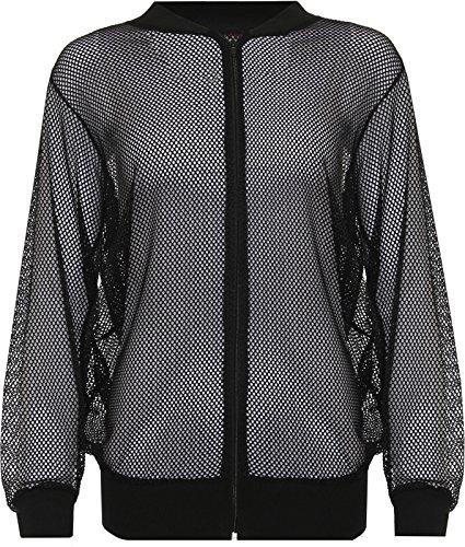 Nueva mujer manga larga malla Bomber chaqueta con cremallera Top negro