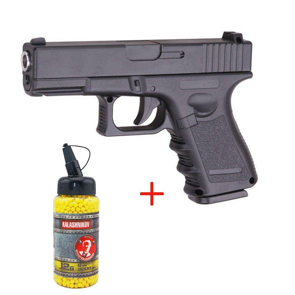 Airsoft Galaxy - pistola para airsoft G.15 tipo Glock 17, culata de metal con muelle, color negro, botella de balines de 0,12 g de regalo, fuerzas especiales, SWAT o cosplay, potencia de 0,5 julios