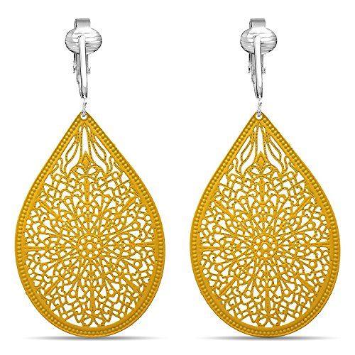 Lovely Victorian Filigree Clip On Earrings for Women Clip-ons, Lightweight Teardrop Leaf Dangle (Yellow)