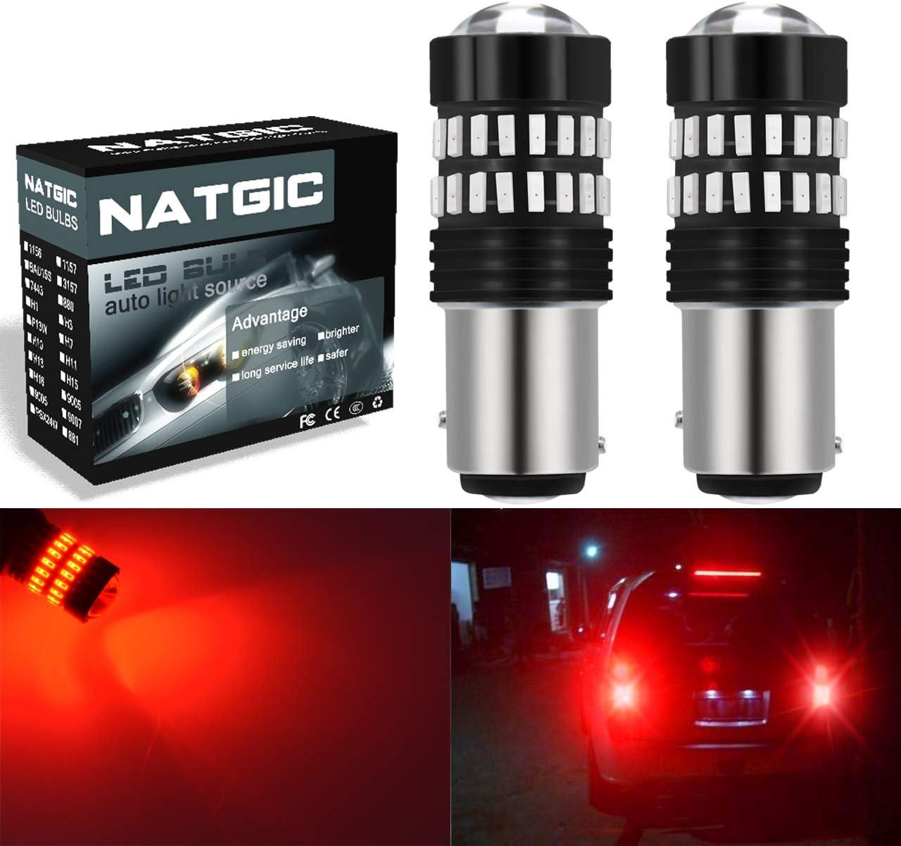 NATGIC 1157 BAY15D P21/5W Bombillas LED Rojo 2400LM 48-SMD 4014 Chipsets con proyector para luz de Parada de estacionamiento de Marcador Lateral de Cola (Paquete de 2)