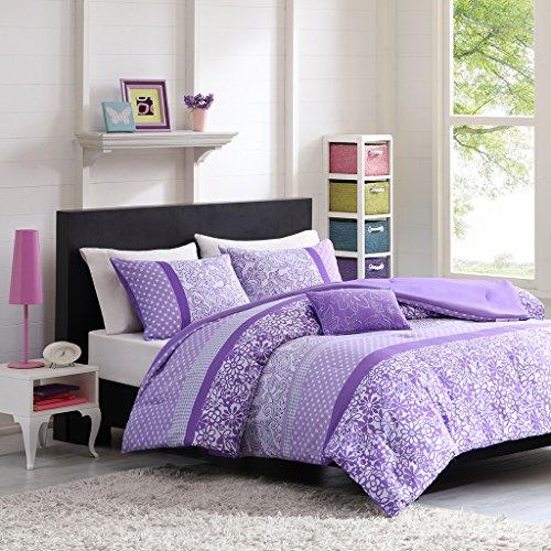 Mi-Zone Riley Comforter Set Full/Queen Size - Purple, Floral - 4 Piece Bed Sets - Ultra Soft Microfiber Teen Bedding for Girls Bedroom (Floral Lavender Sets Comforter)