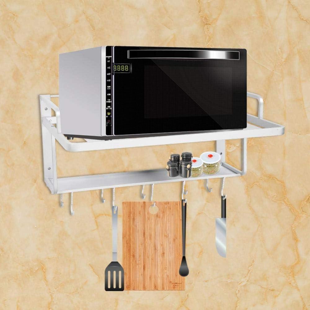 Ejoyous Mikrowellenhalterung mit 2 Ablagen Raum Aluminium Doppelschichten Mikrowellen-//Ofenregal Mikrowellenherd Gestell Stand K/üchen Mit 10 Haken f/ür Mikrowelle Ofen