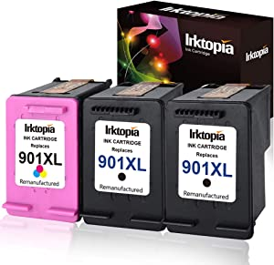 Inktopia Remanufactured Ink Cartridges for Hp 901XL 901 XL (2 Black, 1 Color) Use with HP Officejet 4500 J4500 J4524 J4540 J4550 J4580 J4624 J4640 J4660 J4680 J4680C Printer Ink Level Display