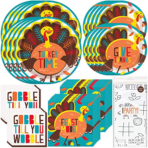 Unique Cartoon Turkey Party Bundle | Dinner & Dessert Plates, Luncheon & Beverage Napkins, Table Cover | Great for Thanksgiving Event, Turkey Day, Kid's Birthday (Plate Thanksgiving Decorations)