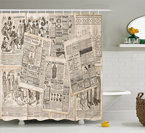 Ambesonne Old Newspaper Decor Shower Curtain by, Nostalgic Aged Pages with Antique Advertising Fashion Magazines Print, Fabric Bathroom Decor Set with Hooks, 75 Inches Long, Black Tan