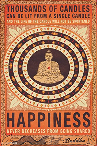 Pyramid America Thousands of Candles Buddha Happiness Quote Motivational Poster 12x18 inch