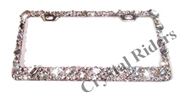 bling license plate frame with crystals ab iridescent clear metal chrome zink alloy screw cover cap