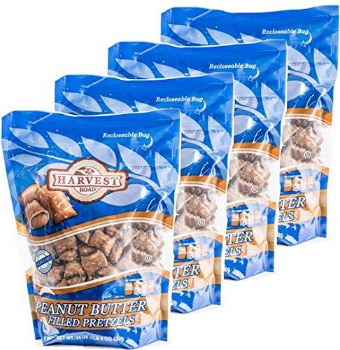 Harvest Road Peanut Butter Filled Pretzel Nuggets, Salted, 6 lbs. (4 bags; 24 oz. each) (Peanut Butter Pretzel Nuggets)