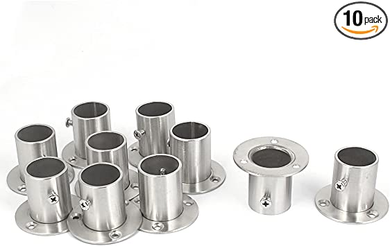 Wardrobe Stainless Steel Rail Rod End Flange Socket Supports 19mm Dia 10pcs