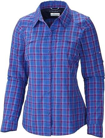 Columbia Sportswear Womens Silver Ridge Plaid Long Sleeve Shirt, Blue Macaw, X-Large