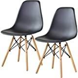 DORIS イームズチェア 2脚セット デザイナーズ チェア リプロダクト 天然木脚 椅子 ブラック DSW