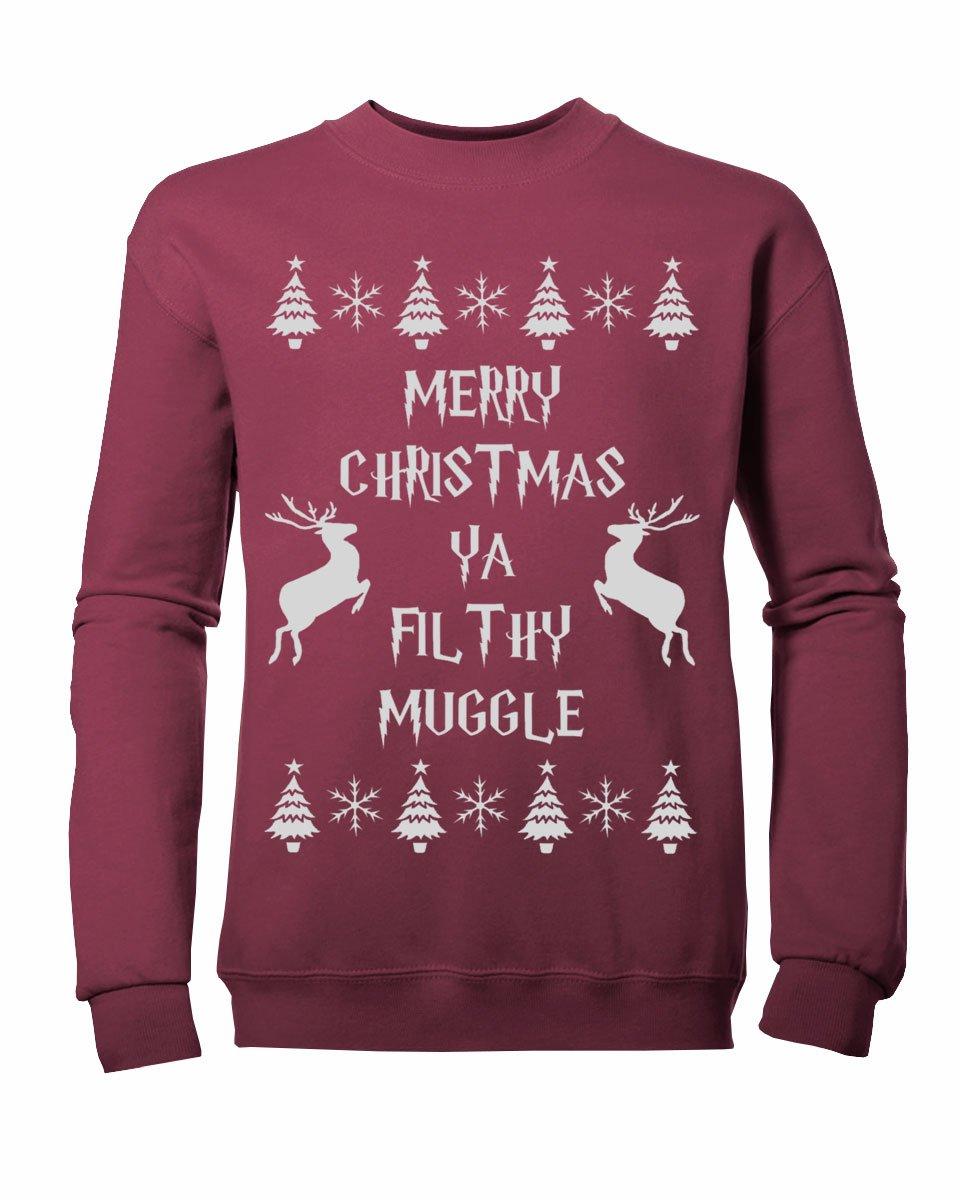 Reverb Clothing Kids Boys Girls Merry Christmas yA Filthy Muggle Sweatshirt Ages 3 13yrs