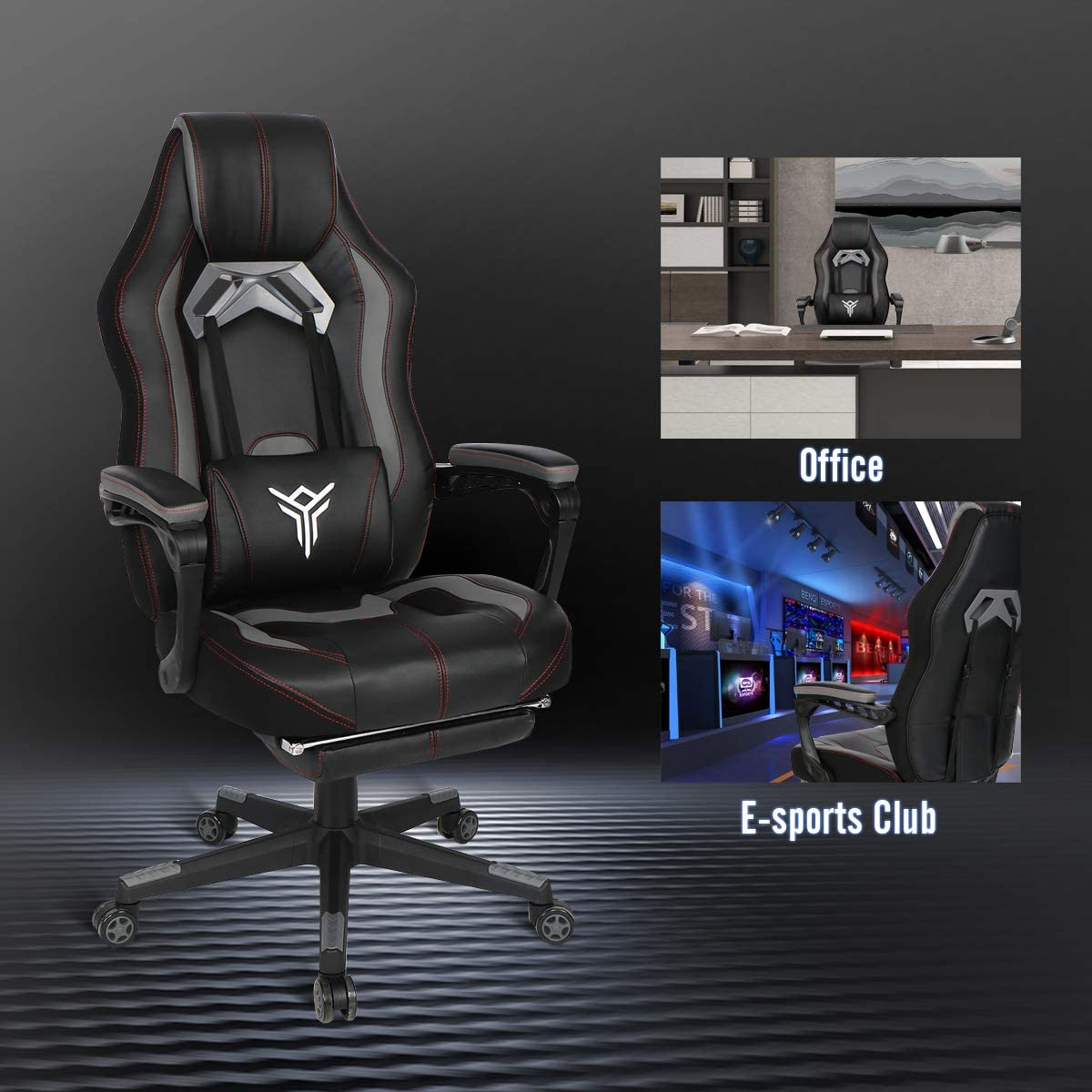 PULUOMIS Massage Gaming Chair White Swirl Computer Chair with Footrest Lumbar Support Headrest Adjustable Ergonomic Video Gaming Chair for Adults for Home Office Grey