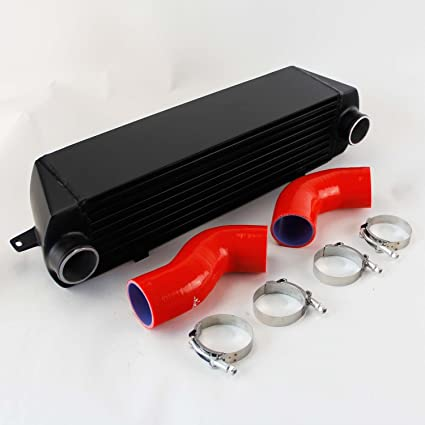 Black Twin Turbo Aluminum Intercooler + Red Silicone hose kit for Bmw 135 135i 335 335i