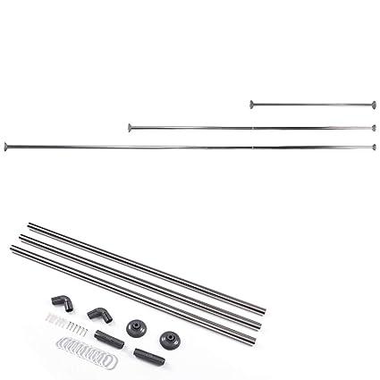 Surepromise Stainless Steel Telescopic Adjustable U Shape Corner Shower Curtain Rod Bathtub