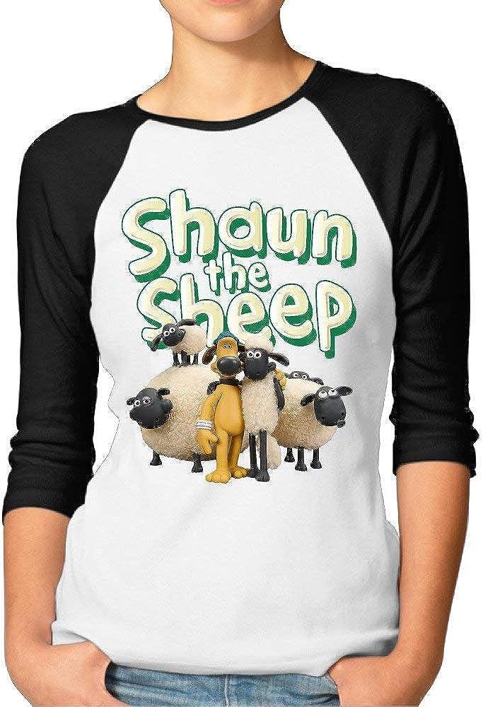 JuJuhk Womens Shaun The Sheep 3//4 Sleeves Baseball T-Shirts
