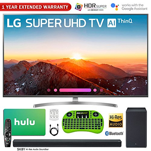 LG 55SK8000PUA 55″ Class 4K HDR Smart LED AI SUPER UHD TV w/ThinQ (2018 Model) + LG SK8Y 2.1-Ch Hi-Res Audio Soundbar w/Dolby Atmos + Hulu $75 Gift Card + 1 Year Extended Warranty + More