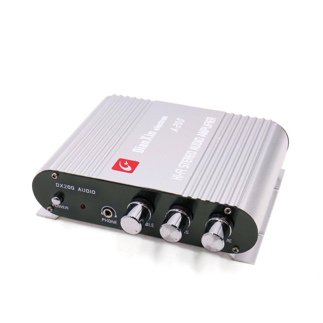 uxcell Silver Tone 85dB 200W Mini Hi-fi Stereo Sound Audio Power Amplifier for Auto Car