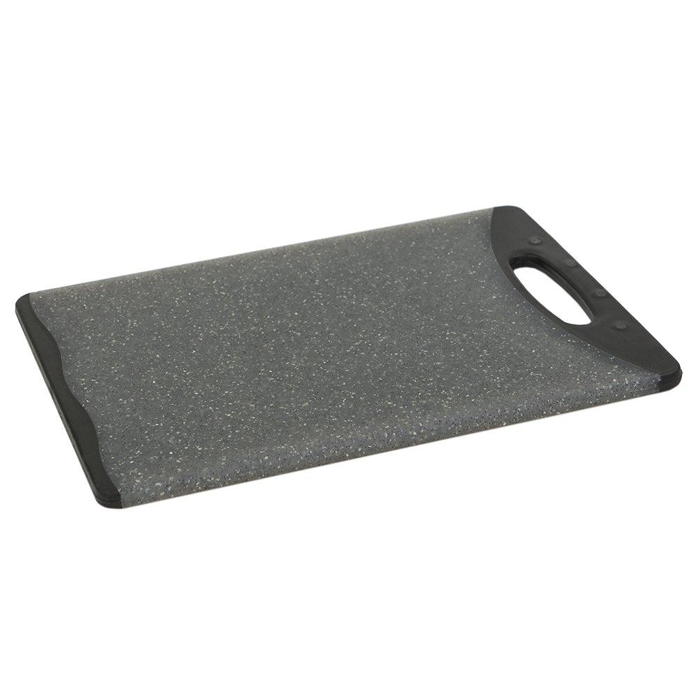 Home Basics CB44823 Dual Sided Plastic Cutting Board, 12'' x 18'', Granite Gray