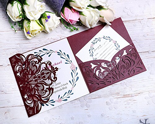 Red Pocket Invitation - PONATIA 20 PCS Laser Cut 3 Folds Invitation Cards for Wedding Invitations Birthday Engagement Greeting Invitations Cards Use+ Free Envelopes+ Free RSVP Cards (Burgundy)