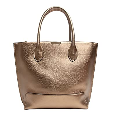 36eedb98c MingTai Simple Wild Classic Tote Bag Lychee Emboss Female Big Bag Champagne