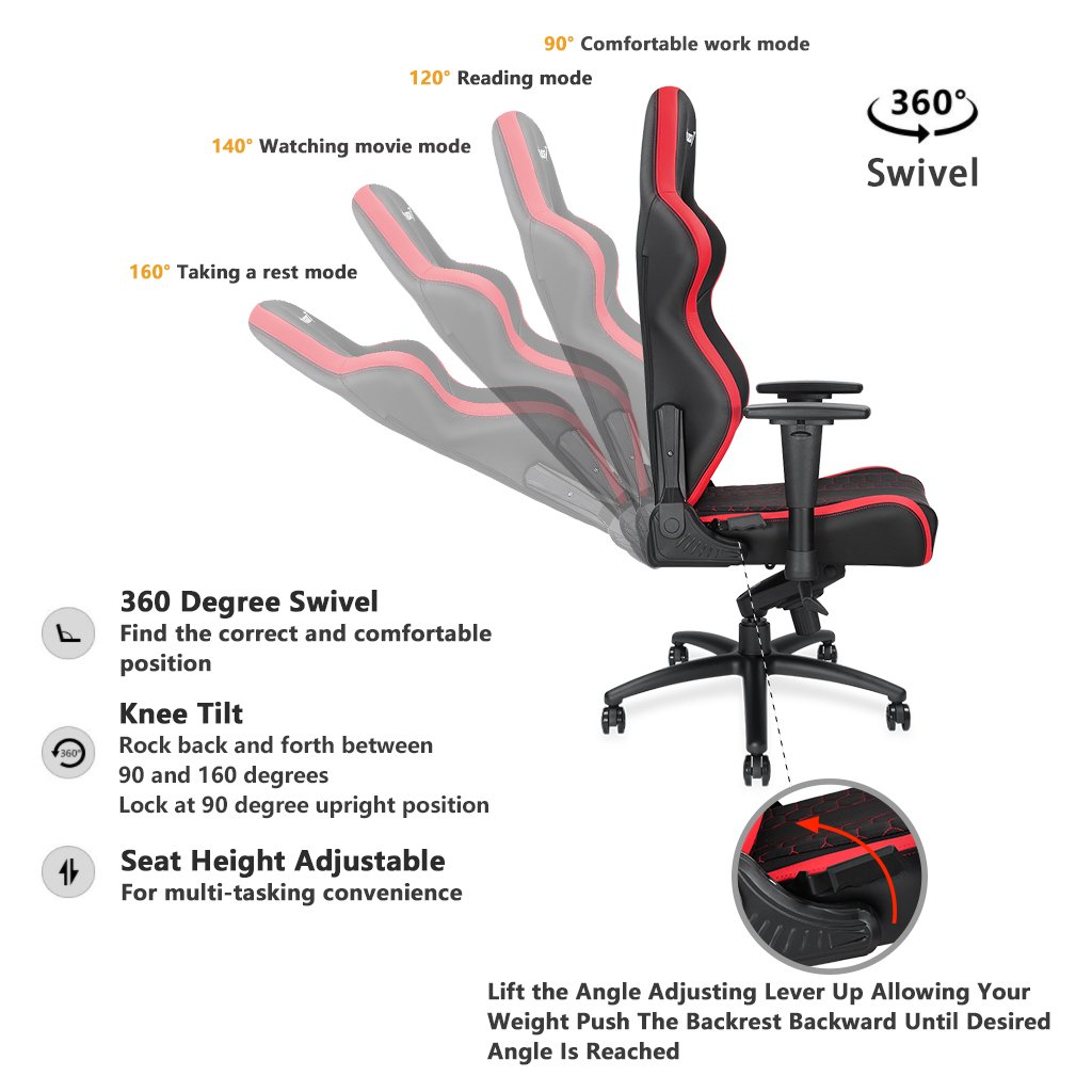 [Large Size Big and Tall 400lb Gaming Racing Chair] Anda Seat Spirit King High Back Computer Office Desk Executive Swivel Chair with Adjustable Headrest and Lumbar Support, Easy Assembly - Black/Red by Anda seat (Image #4)
