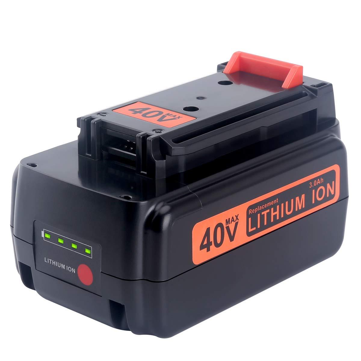 Biswaye 3.0Ah Replacement Black and Decker 40V Lithium Battery LBXR36, for Black & Decker 40-Volt Cordless Power Tools LST136 LHT2436 LSW36 Lithium Battery LBXR36 LBXR2036 LBX1540 LBX2040 LBX2540 by Biswaye