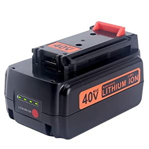 Biswaye 3.0Ah Replacement Black and Decker 40V Lithium Battery LBXR36, for Black & Decker 40-Volt Cordless Power Tools LST136 LHT2436 LSW36 Lithium Battery LBXR36 LBXR2036 LBX1540 LBX2040 LBX2540