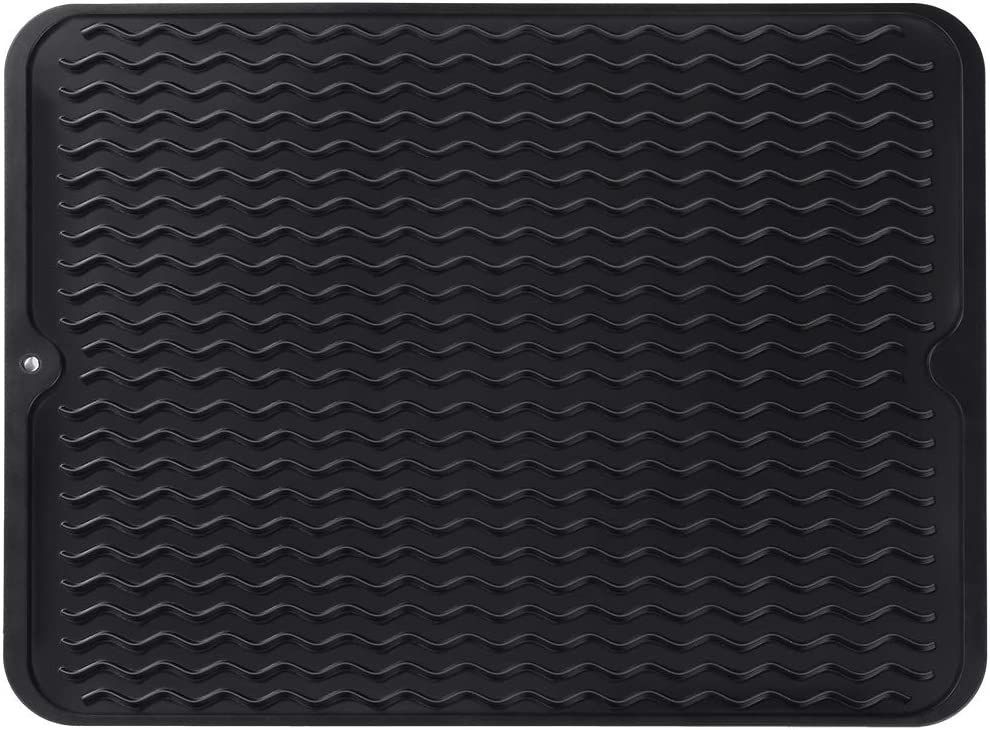 Silicone Dish Drying Mat,Easy Clean Dishwasher Safe Heat Resistant Eco-Friendly Trivet - Black
