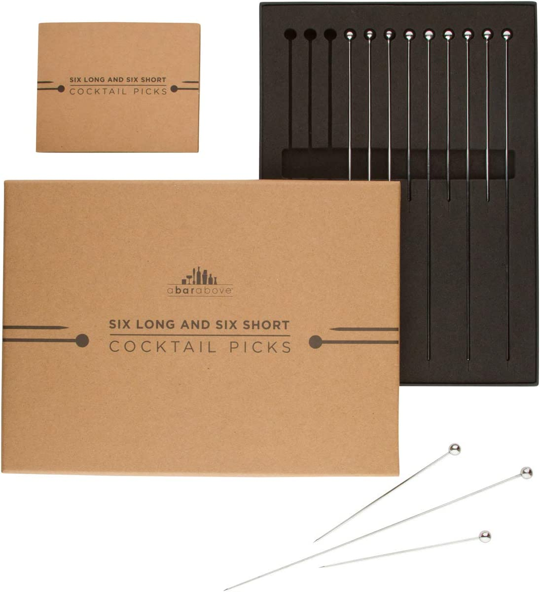 Stainless Steel Cocktail Picks Combo Pack - (6pc of each 4