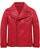 Children's Motorcycle Leather Coat Boys faux leather jacket casual outwear with studs 3-12y