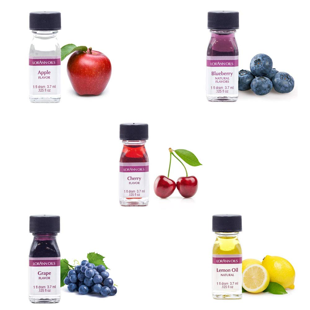 Lorann Oils Super Strength (Apple, Blueberry, Cherry, Grape and Lemon oil) Variety Pack of 5 with free 1 dram Dropper.