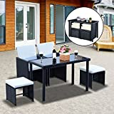 Outsunny 5 PCs Rattan Garden Furniture Wicker Weave Sofa Set Dining Chair Table Cushioned 1 x Table + 2 x Single Chair + 2 x Footrest Space-saving (Black)