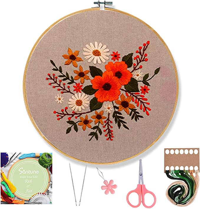 Santune 3 Sets Embroidery Starter Kit with Pattern and Instructions Cross Stitch Set Stamped Embroidery Kits with 3 Embroidery Pattern 1 Embroidery Hoops Van Gogh-Rainbow-Mountain
