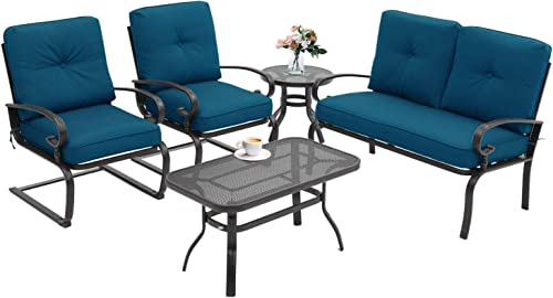 Incbruce 5Pcs Outdoor Indoor Patio Furniture Conversation Sets Loveseat and Spring Motion Chairs Bistro Set-Wrought Iron Table and Chairs Set