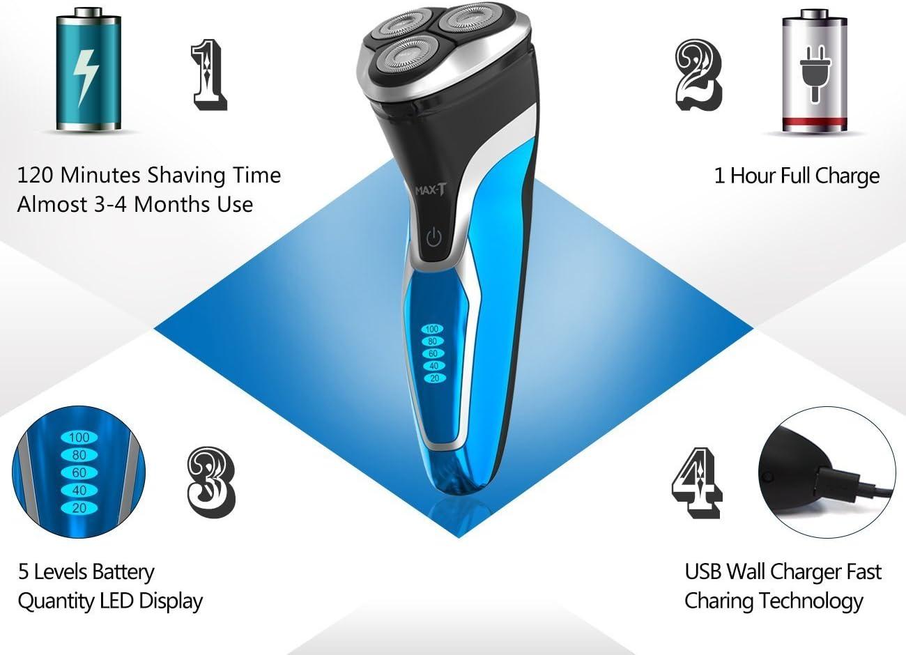 MAX-T RMS7109 Afeitadora Eléctrica Barba Hombre IPX7 100% Impermeable Húmedo & Seco Máquina Afeitar Barba con Pop-up Trimmer: Amazon.es: Salud y cuidado personal
