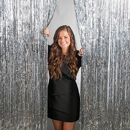 ZagGit Set of 2 Metallic Silver Foil Fringe Party Decoration Door Curtains, 3 x 8 Feet ()