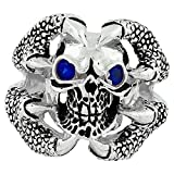 Claw of the Beast Skull Sterling Silver Simulated Sapphire Blue Cubic Zirconia Eyes