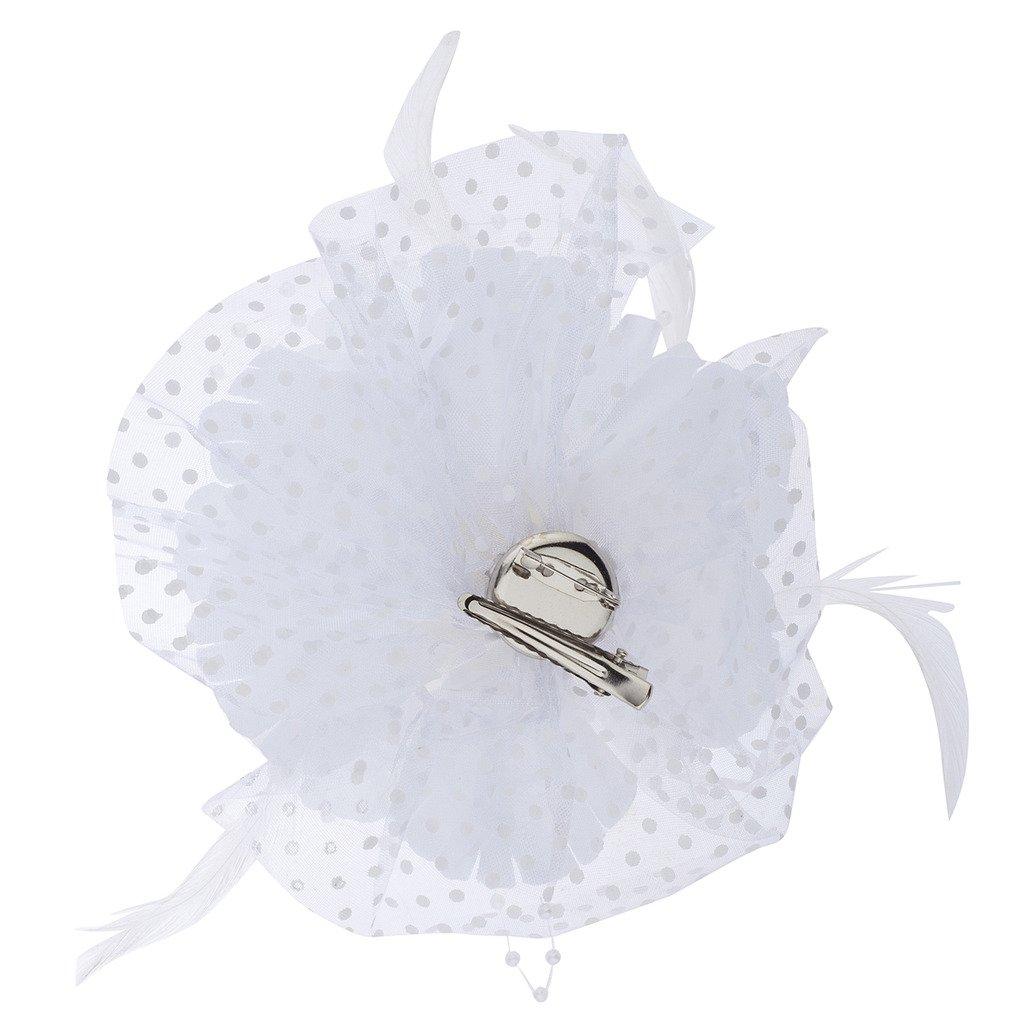 Lux Accessories Wedding Bride Bridal White Polka Dot Fabric Flower Mesh Veil
