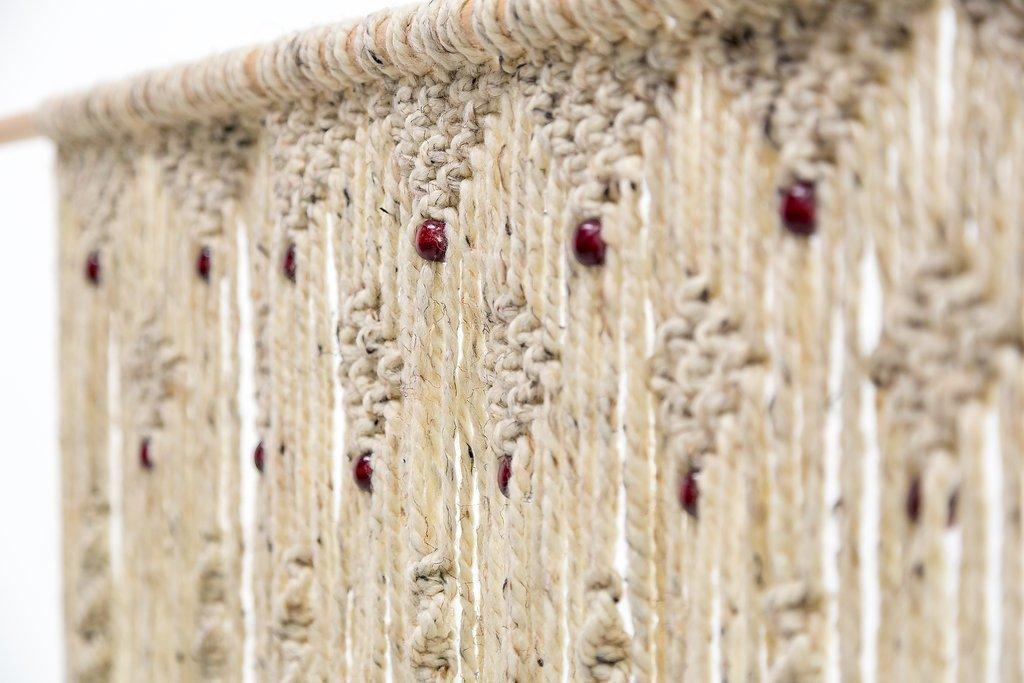Hand Woven Macrame Door Hanging. Room divider. Beaded Curtain.