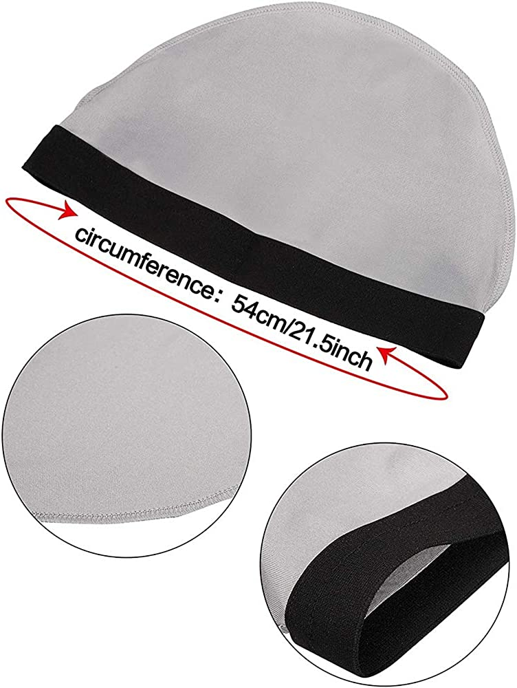 Color 4 ALLURE 6 Pieces Elastic Band Silky Wave Caps for Men Silk Material for 360 540 and 720 Waves