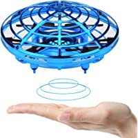 BOMPOW Drones, Interactive Mini Drone for Kids and Adults, Rechargeable Hand Controlled RC Drone Quadcopter with 2 Speed Models and LED Indicator, Blue