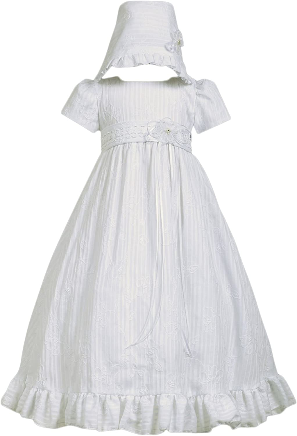 Baby Girls White Satin Tulle Christening Gown Baptism Dress Size 0-3 3-6 6-12 M