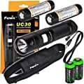 FENIX UC30 USB Rechargeable 960 Lumen Cree XM-L2 U2 LED Flashlight with, 2 X Fenix ARB-L2 2600mAh rechargeable batteries, USB charging cable and 2 X EdisonBright lithium CR123A back-up batteries bundle