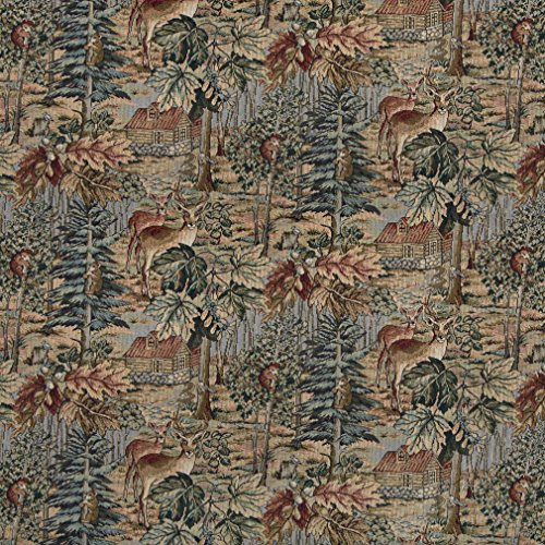 - A016 Wilderness Deer Cabins Trees Leaves Themed Tapestry Upholstery Fabric By The Yard